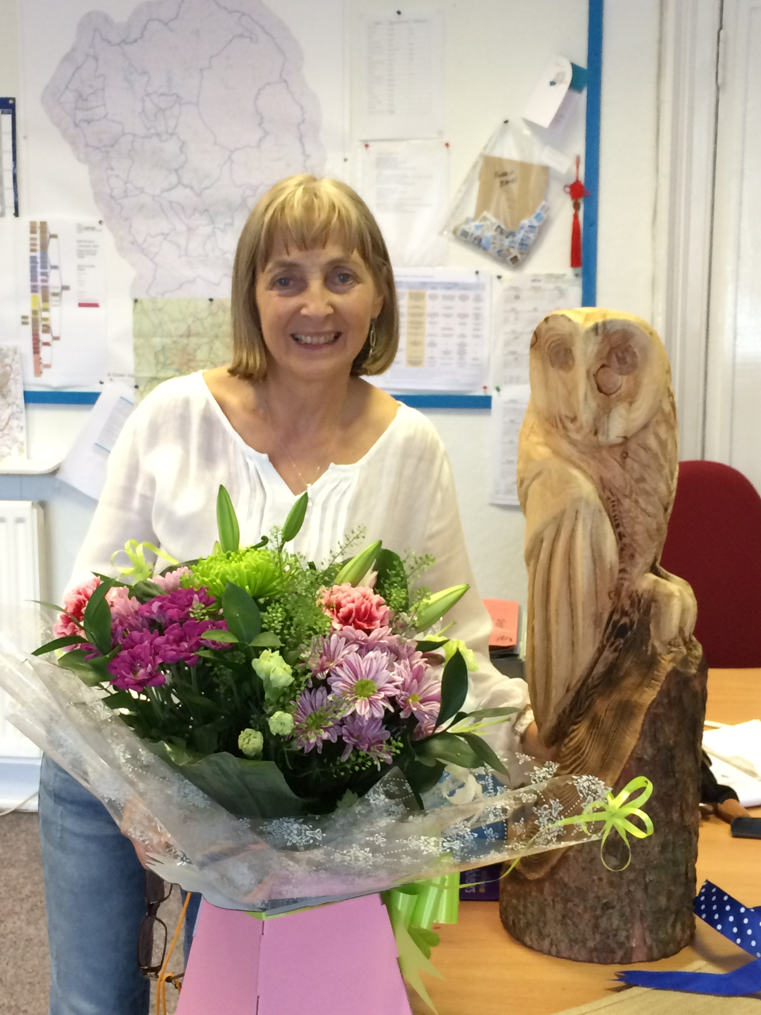 Photo of Helen Anderson with her leaving gifts