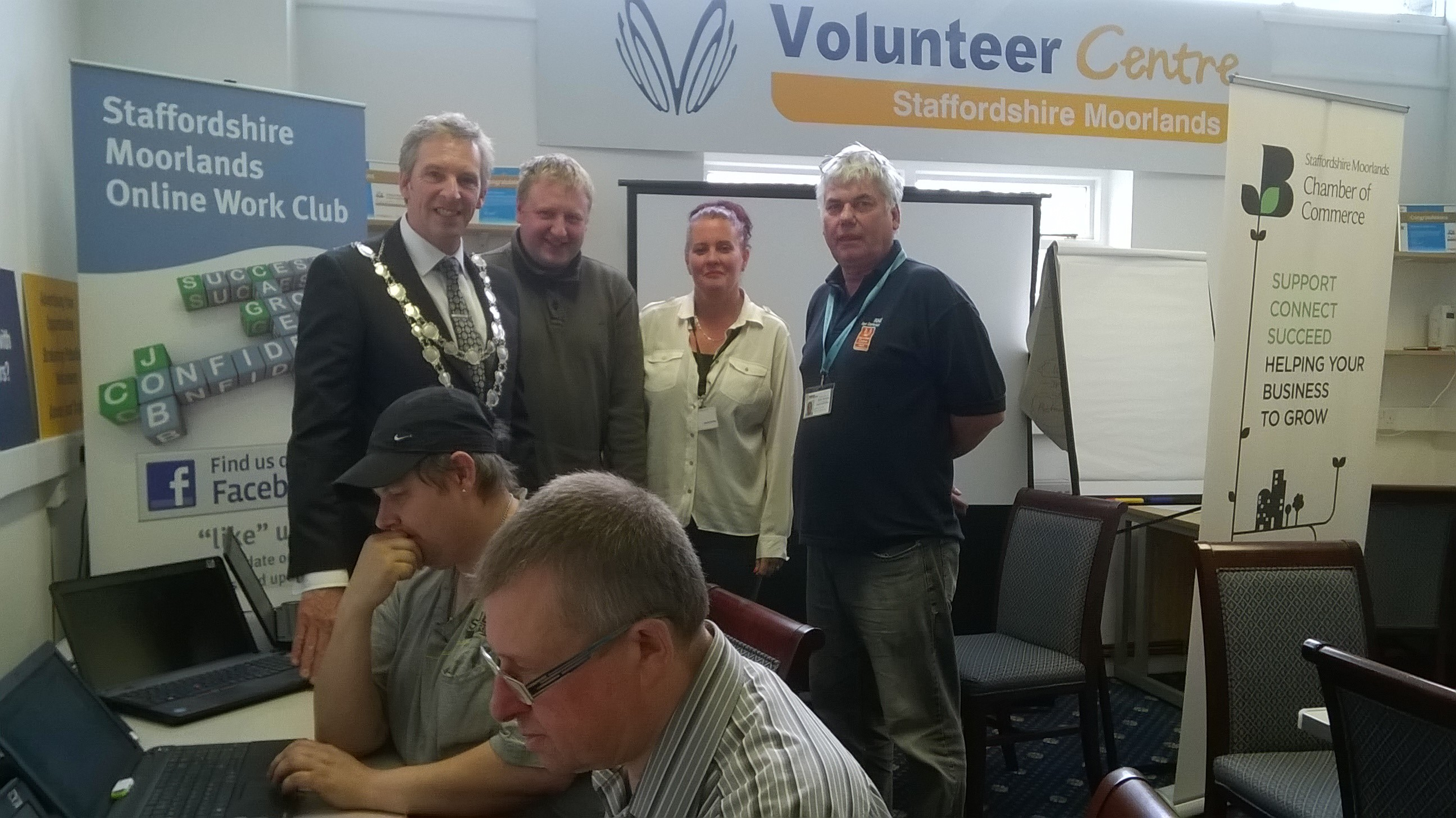 Photo of the Mayor visiting the Leek Work Club
