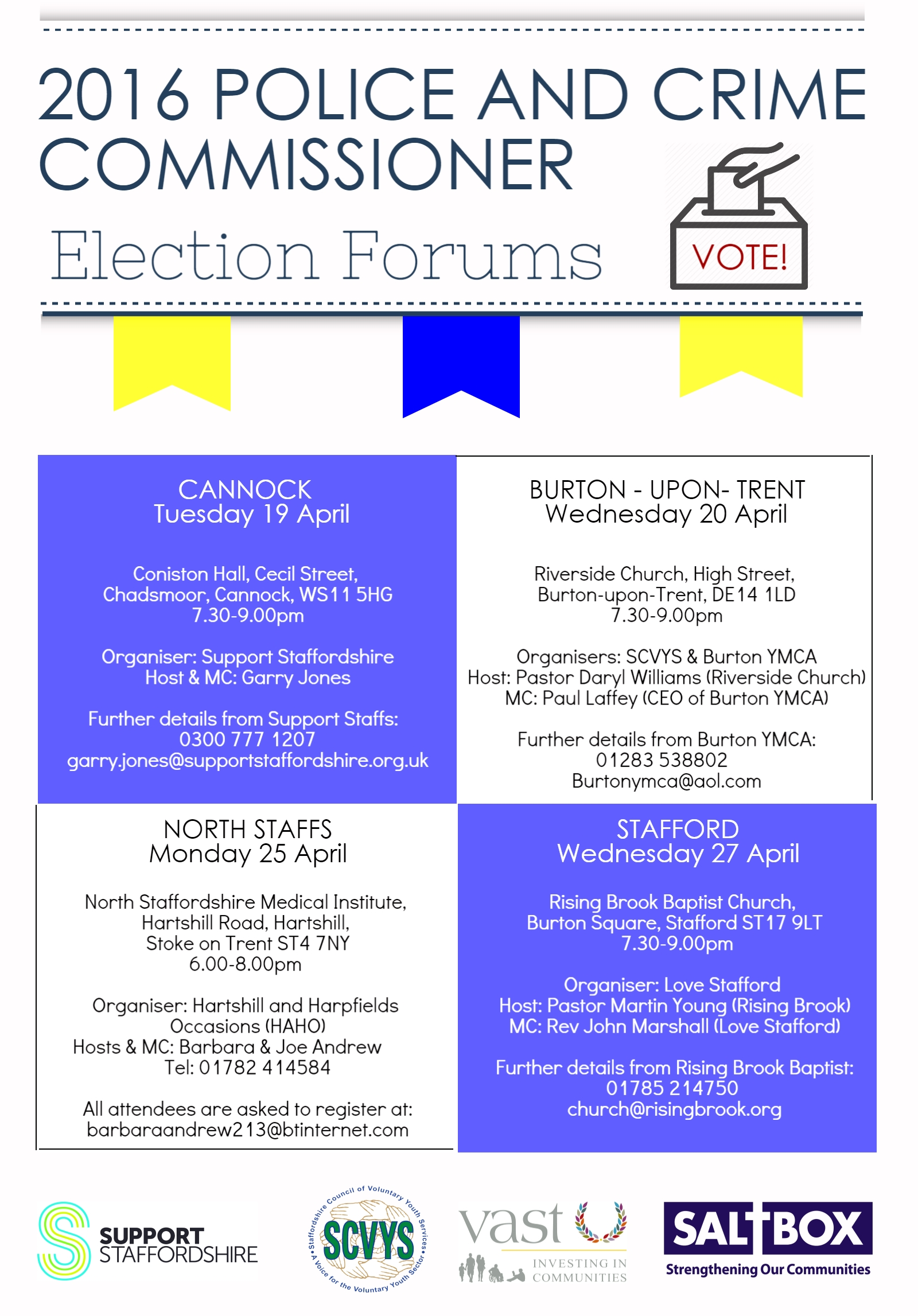PCC Election Forums 2016 flyer