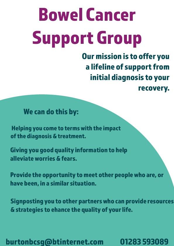 Burton Bowel Cancer Support Group Launches Support Staffordshire