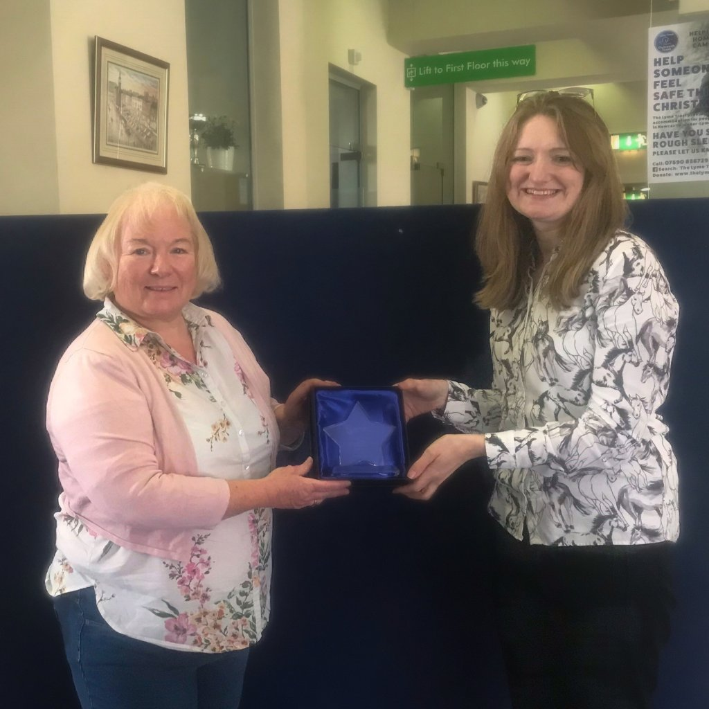 <strong>2021 WINNER of the Newcastle-under-Lyme Volunteer of the Year Award</strong> sponsored by Support Staffordshire, presented by Lisa Haynes, Senior Locality Officer.