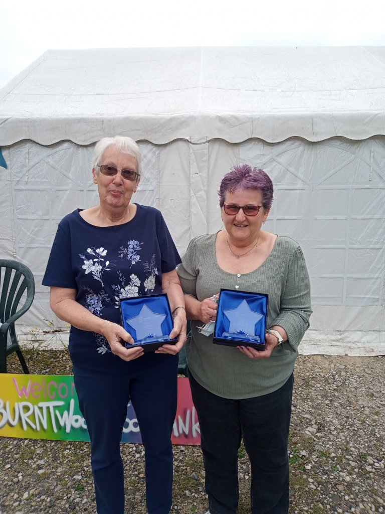 <strong>2021 WINNERof the Lichfield &amp; District Volunteer of the Year award</strong> alongside Lynda Gethin who accepted the <strong>New Volunteer Team of the Year award</strong> on behalf of Burntwood Be A Friend.