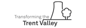 Logo for Transforming the Trent Valley Landscape Partnership Scheme, depicting a river and a cooling tower