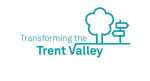 Transforming the Trent Valley logo showing outlines of a cooling tower and a signpost in blue ink